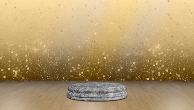 丸い石のスタンド製品の展示、製品のショー、金のボケの背景のための木製の床の丸い大理石のベースパレット。