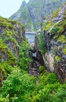 丸い石が岩に刺さっています。夏の海岸(ノルウェー、ロフォーテン諸島)。