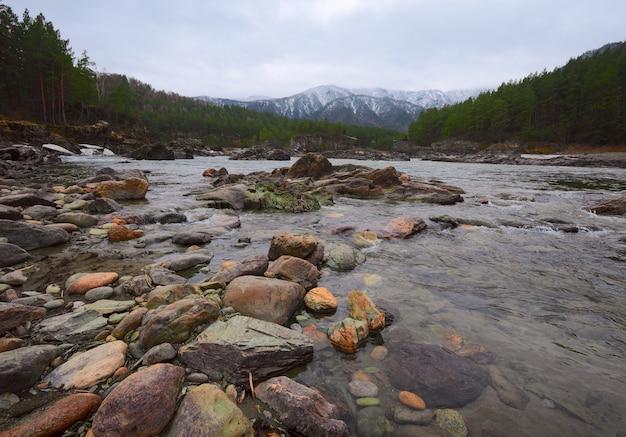 Круглые камни на берегу горной реки сосновый бор на каменистом берегу заснеженных гор