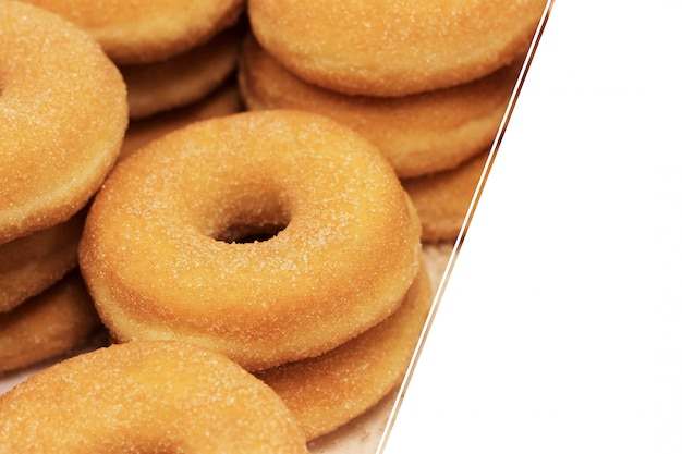 Round sugar donuts, cooked homemade, sweet dessert with sugar. donuts , copyspace, .