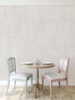 Круглый стол с двумя стульями у пустой стены