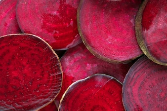 Round textured slices of beetroot