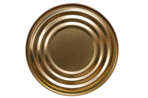 丸い缶は白い背景で隔離できます。上からの眺め