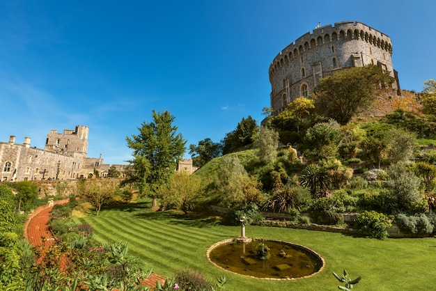 Round tower of the windsor castle, berkshire, england.