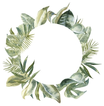 Round tropical leaves frame. exotic floral wreath.  palm leaf print border