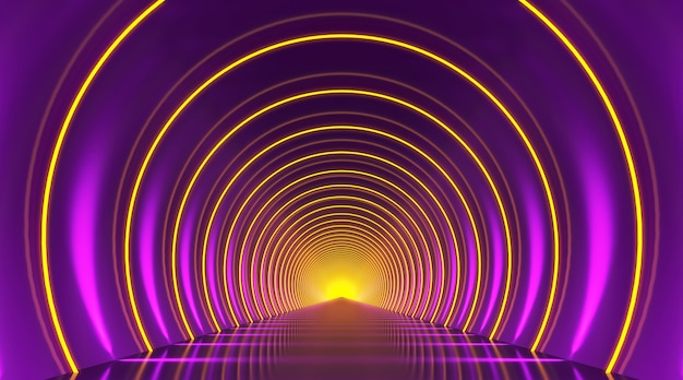 Round tunnel podium abstract background. violet yellow light reflection stage. 3d render.
