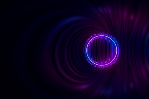 Round tunnel with reflective walls and neon circle illumination 3d illustration