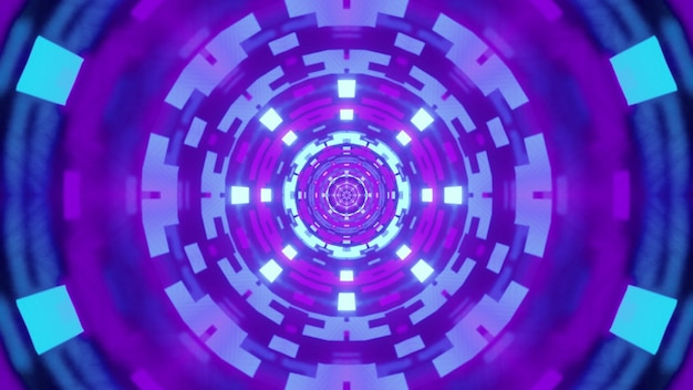 Round tunnel with violet geometric ornament glowing with bright neon light