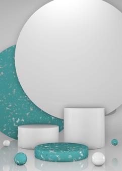 둥근 수직 녹색과 흰색 무대, 연단 또는 받침대 3d 렌더링. 화장품 또는 패션에 대한 배경 또는 모형.