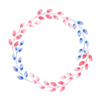Round watercolor wreath with colorful willow branches for easter on a white background, spring illustration for the holidays, packaging, postcards