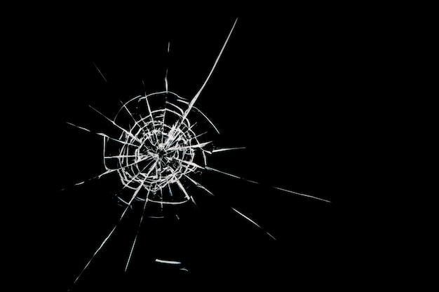 Round white cracks in glass