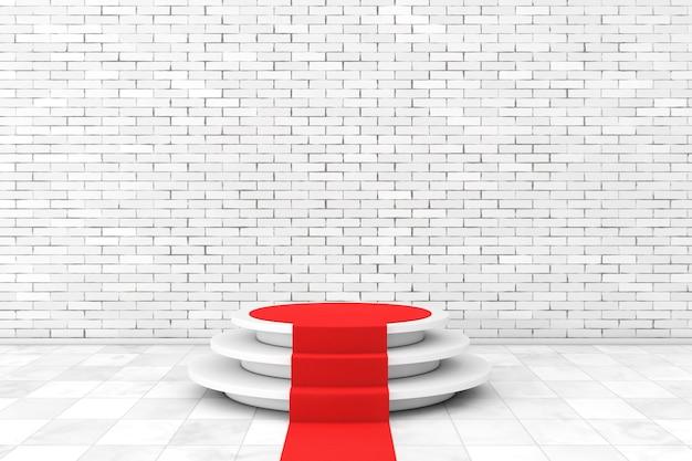 Круглый белый пьедестал со ступенями и красной ковровой дорожкой перед кирпичной стеной. 3d рендеринг