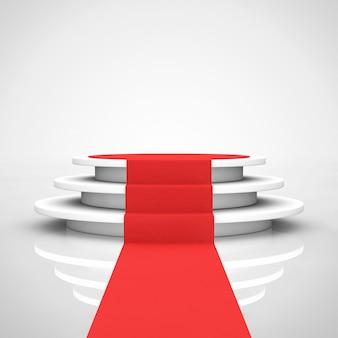 흰색 바탕에 단계와 레드 카펫이 있는 둥근 흰색 받침대. 3d 렌더링