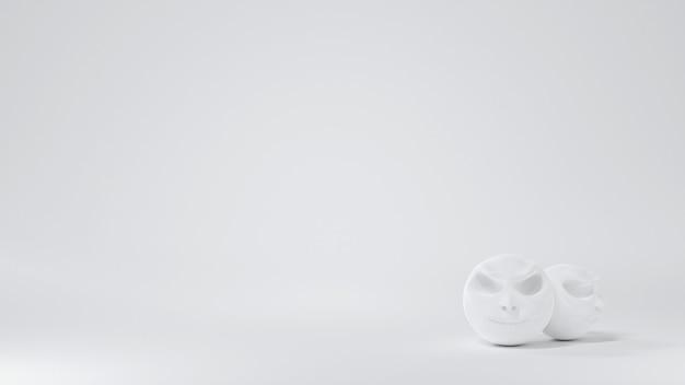 흰색 배경 모서리에 장식된 둥근 흰색 해골 머리, 할로윈 배경, 3d 그림