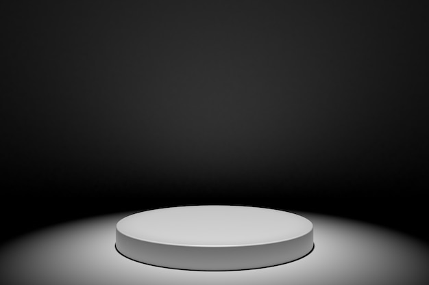 Round white stage podium concept illustration isolated on black background. festive podium scene for award ceremony. white pedestal for product presentation. 3d rendering