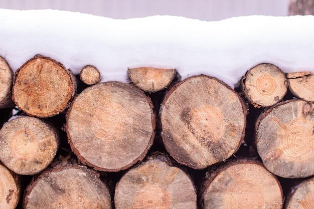 На улице ровными рядами стоят круглые дрова, присыпанные снегом, подготовленные для обогрева печи зимой. текстура круглого дерева.