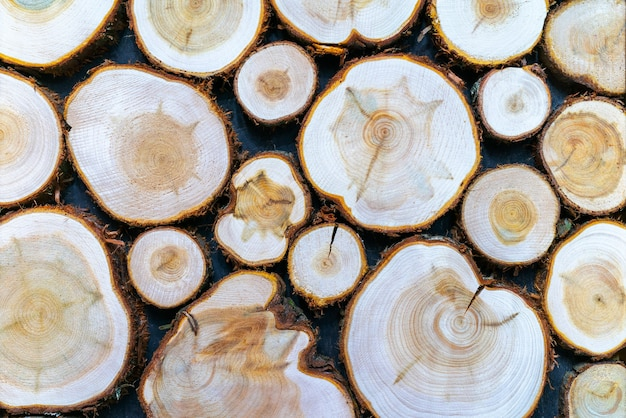 丸い木の質感。壁は未処理の木材に面しています。