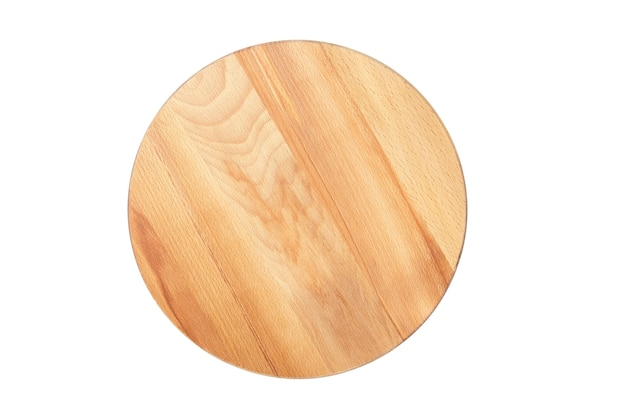 Round wooden beech cutting board isolated top view
