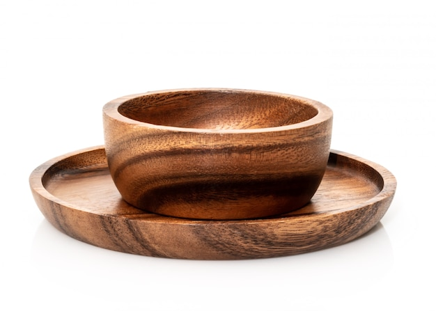 Round wooden bowl on white