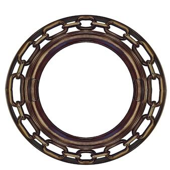 丸い木製フレーム。チェーン付き。白い背景で隔離