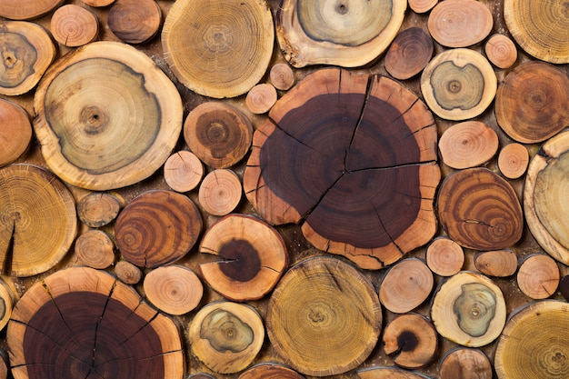 Round wooden unpainted solid natural ecological soft colored brown and yellow stumps background, tree cut sections different sizes for pad mat background texture. do it yourself art concept.