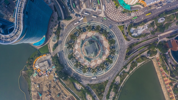 Roundabout in macau, aerial top view of roundabout in macau