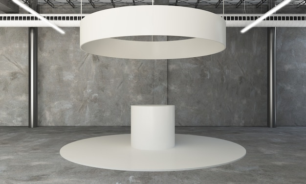 Rounded exhibition booth 3d rendering