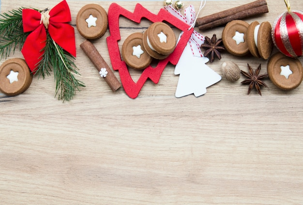 Rounded holiday cookies and decorative elements.empty space for text.flat lay top view