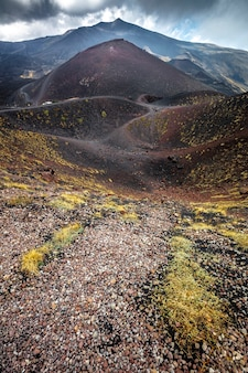 Route on mount etna volcano in sicily.