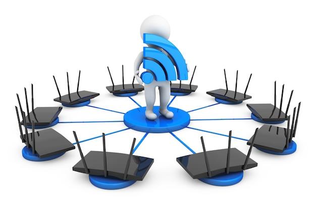 Маршрутизаторы вокруг 3-го человека со знаком wi-fi на белом фоне