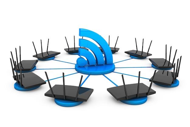 Маршрутизаторы вокруг знака wi-fi на белом фоне