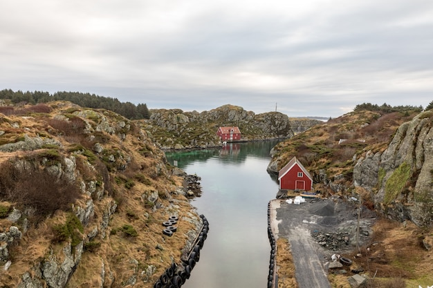 The rovaer archipelago in haugesund, in the norwegian west coast. the small canal between the two islands rovaer and urd