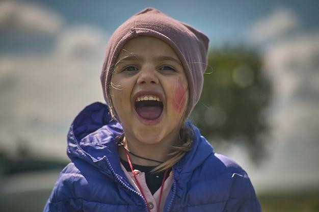 Rovigo, italy 21 july 2021: child screaming portrait