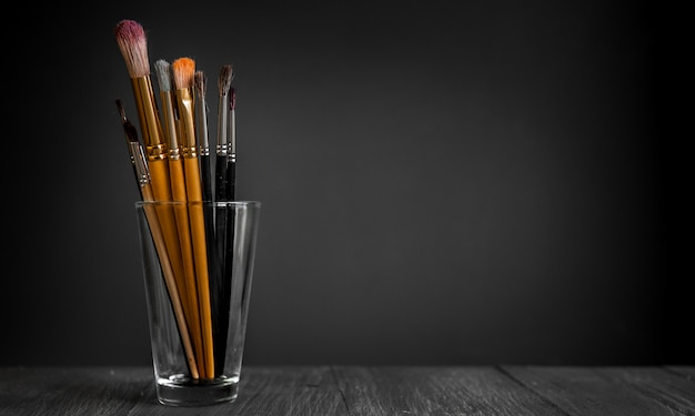 Row of artist paintbrushes