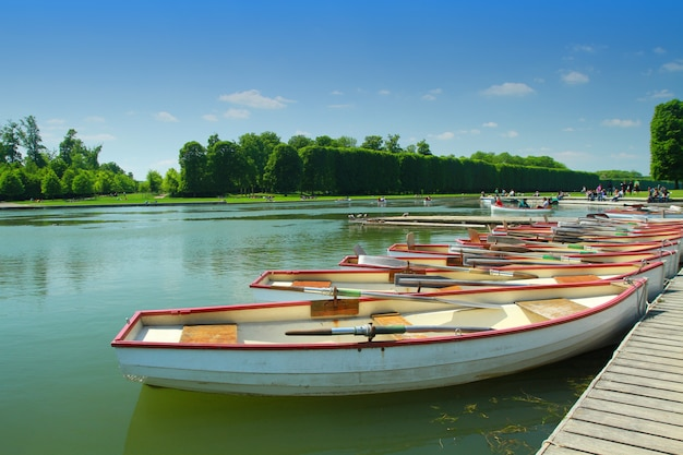 Row of boats in the palace of versailles