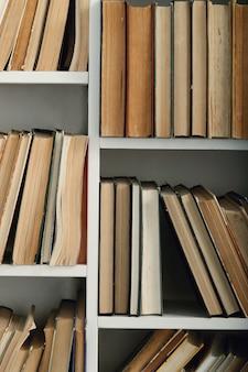 Fila di libri sugli scaffali, concetto di letteratura