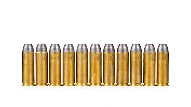Row of bullets on white background