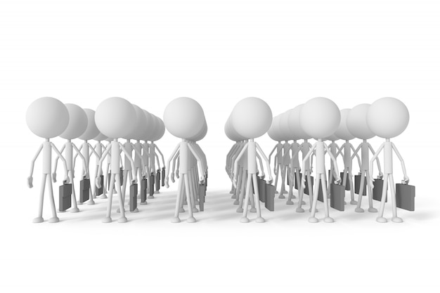 The row of businessman. 3d rendering.