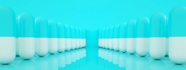 Row of capsule pills over blue background, pharmacy  concept, 3d rendering, panoramic image