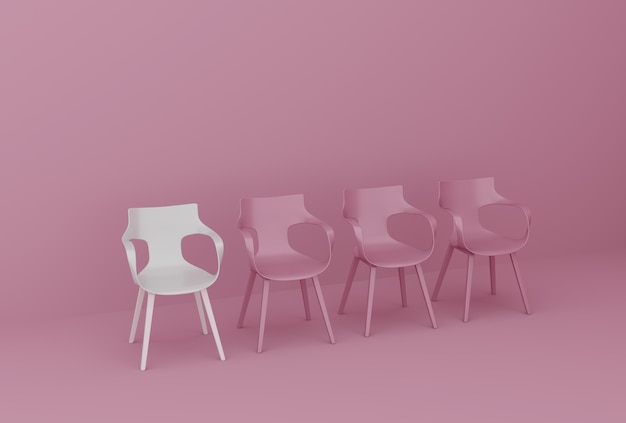 Row of chairs on pink wall