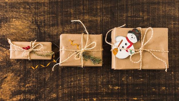 Row of christmas gifts