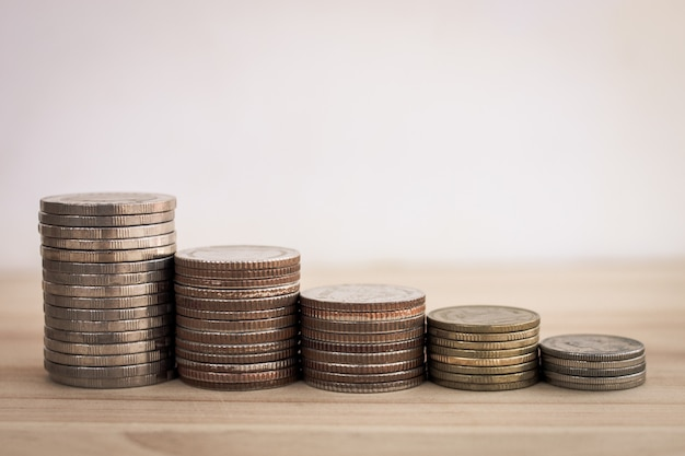 Row of coin for finaance growth investment money