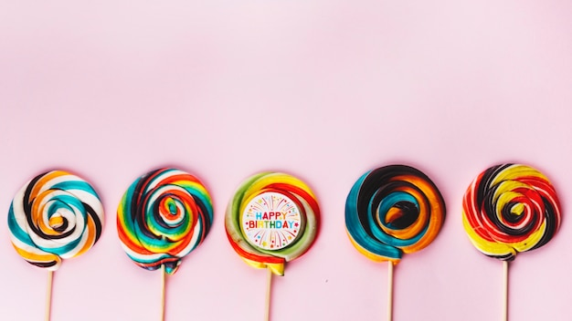 Row of colorful lollipops