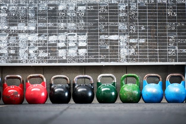 Row of colorful pairs of kettlebell weights