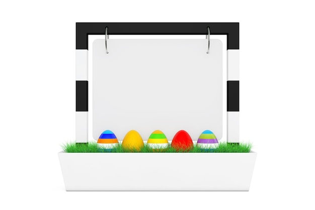 Row of easter eggs in blank banner desk display with grass on a white background 3d rendering