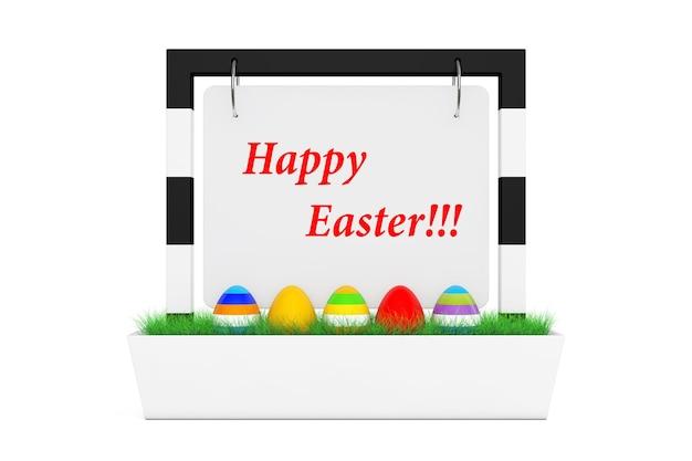 Ряд пасхальных яиц на баннерном столе дисплей со счастливой пасхой знак на белом фоне 3d рендеринг