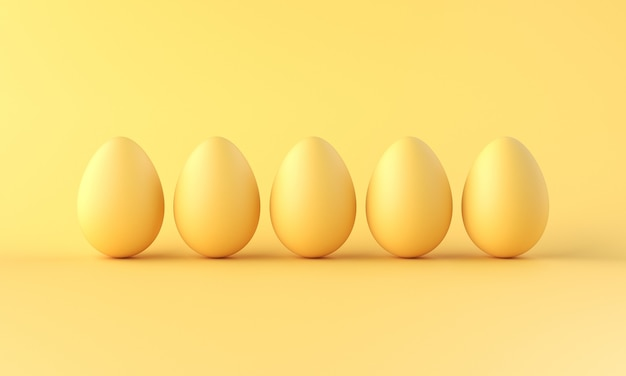 A row of eggs eggs on yellow background. minimalistic style. 3d rendering