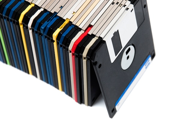 Row of floppy disks