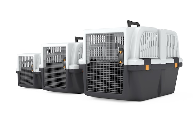 Row fo pet travel plastic cage carrier boxes on a white background. 3d rendering