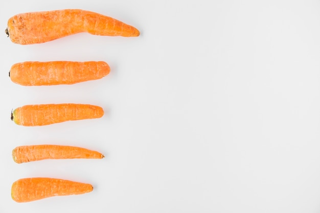 Row of fresh carrots on white backdrop